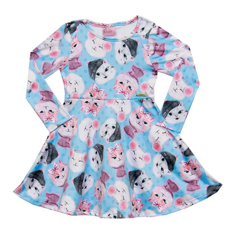 Vestido Duduka Infantil Menina Gatinho Azul