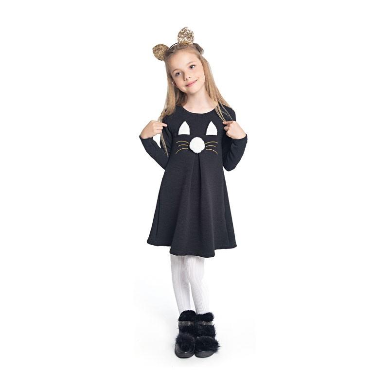 Vestido Duduka Infantil Menina Gatinho Preto