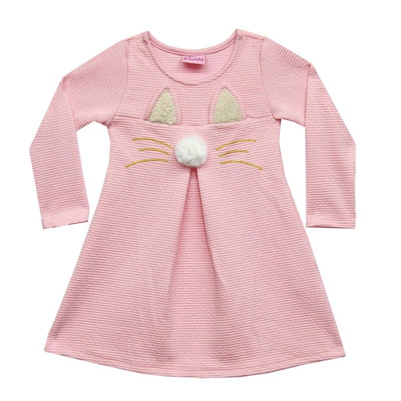 Vestido Duduka Infantil Menina Gatinho Rosa