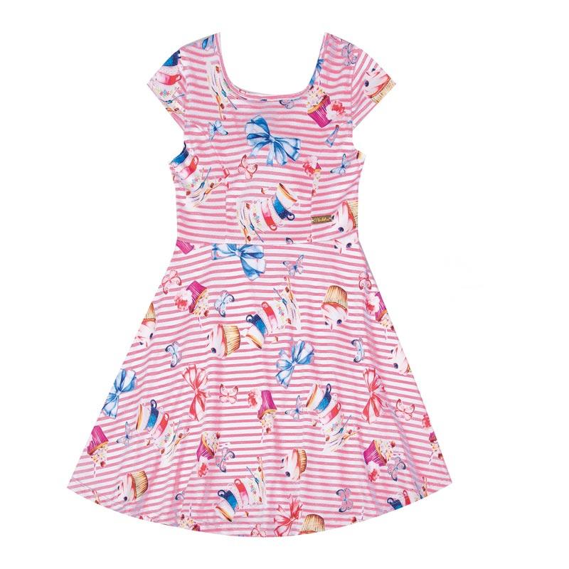 Vestido Duduka Infantil Menina Laço Rosa