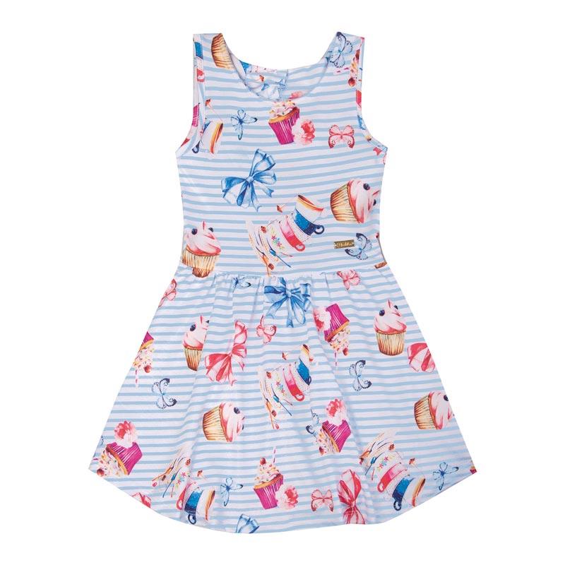 Vestido Duduka Infantil Menina Laços Azul