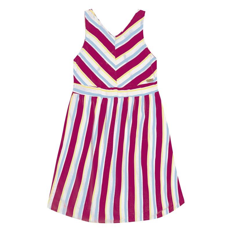 Vestido Duduka Infantil Menina Listras Rosa