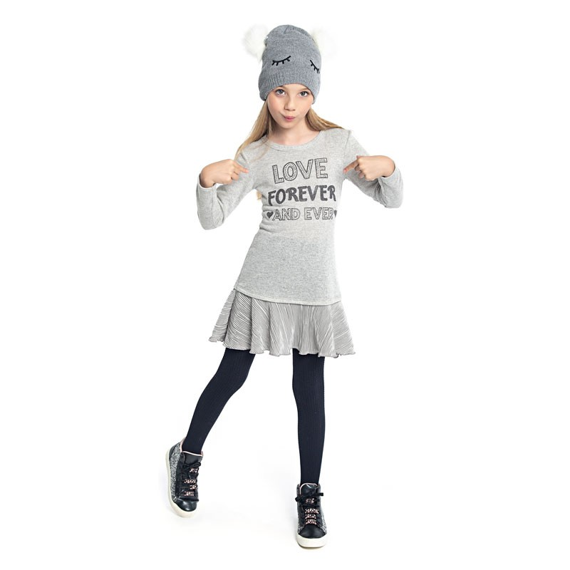 Vestido Duduka Infantil Menina Love Cinza