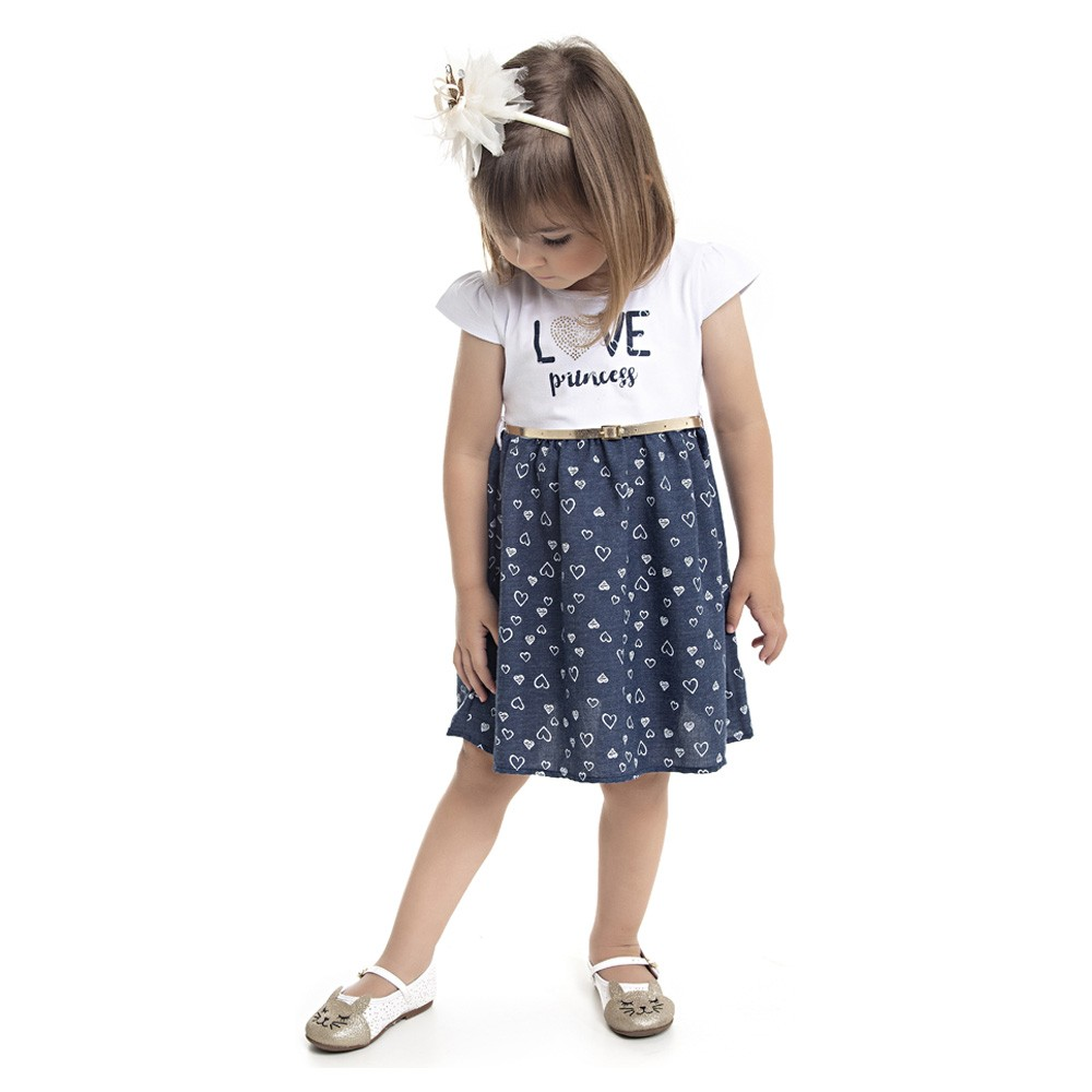 Vestido Duduka Infantil Menina Love Princess Azul