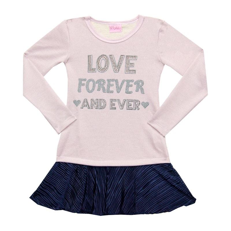 Vestido Duduka Infantil Menina Love Rosa