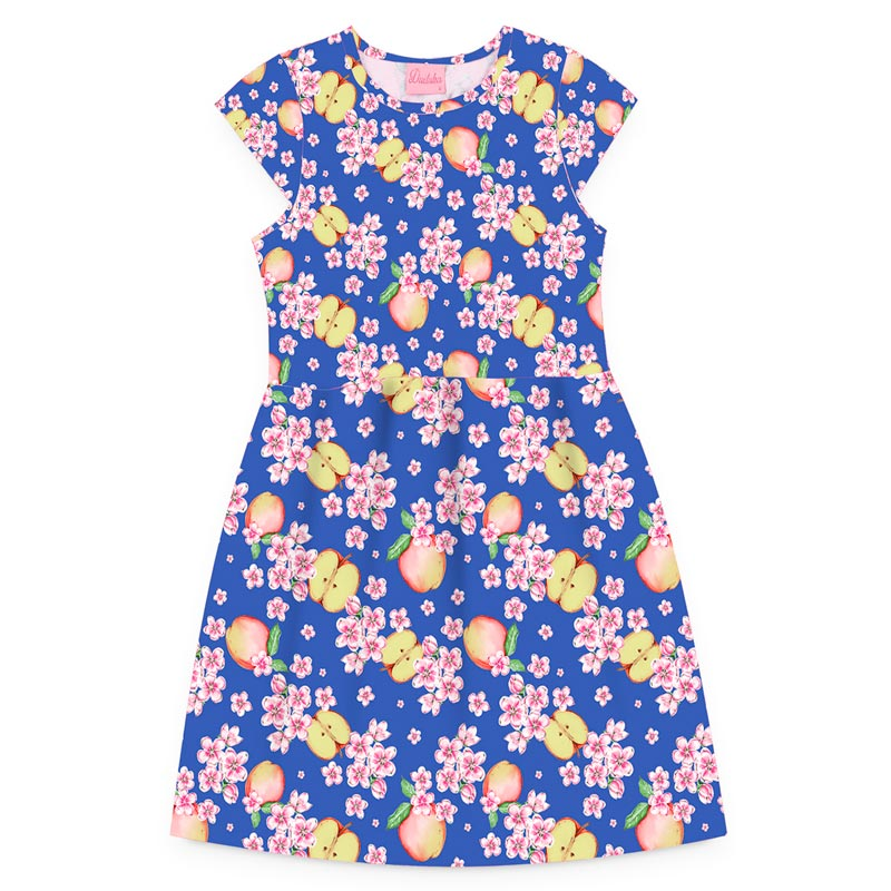 Vestido Duduka Infantil Menina Maça Azul