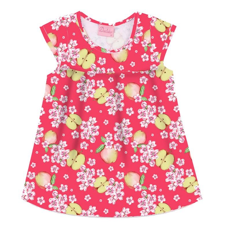 Vestido Duduka Infantil Menina Maça Rosa