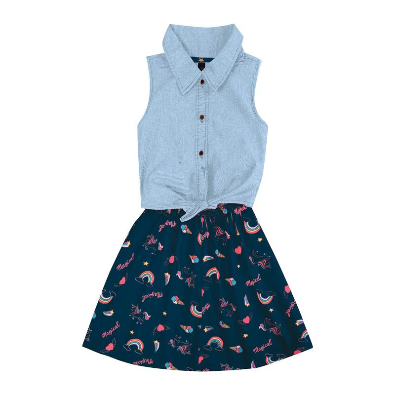 Vestido Duduka Infantil Menina Magical Azul