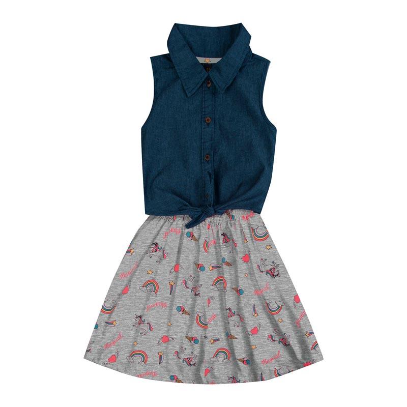 Vestido Duduka Infantil Menina Magical Cinza