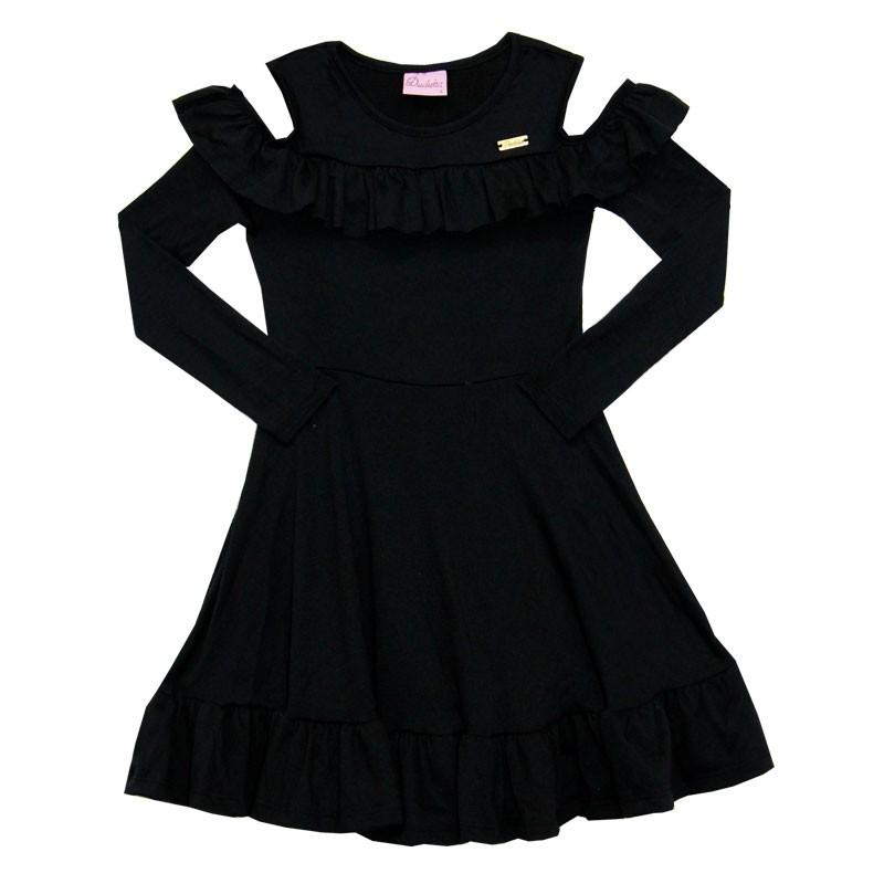 Vestido Duduka Infantil Menina Preto