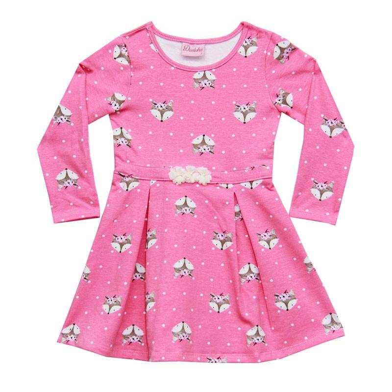 Vestido Duduka Infantil Menina Raposa Rosa