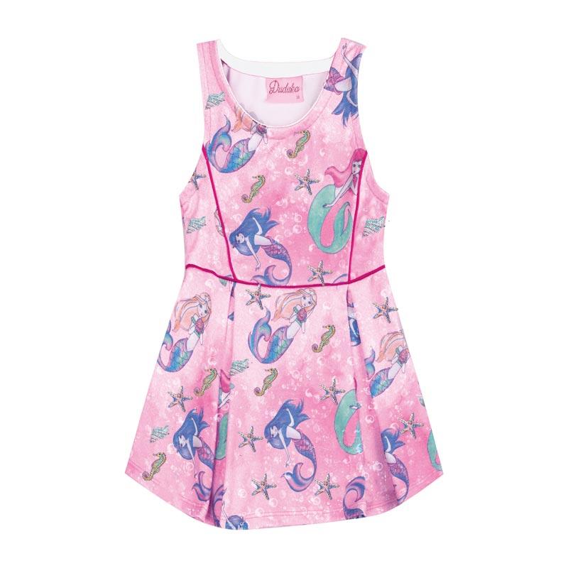 Vestido Duduka Infantil Menina Sereia Rosa