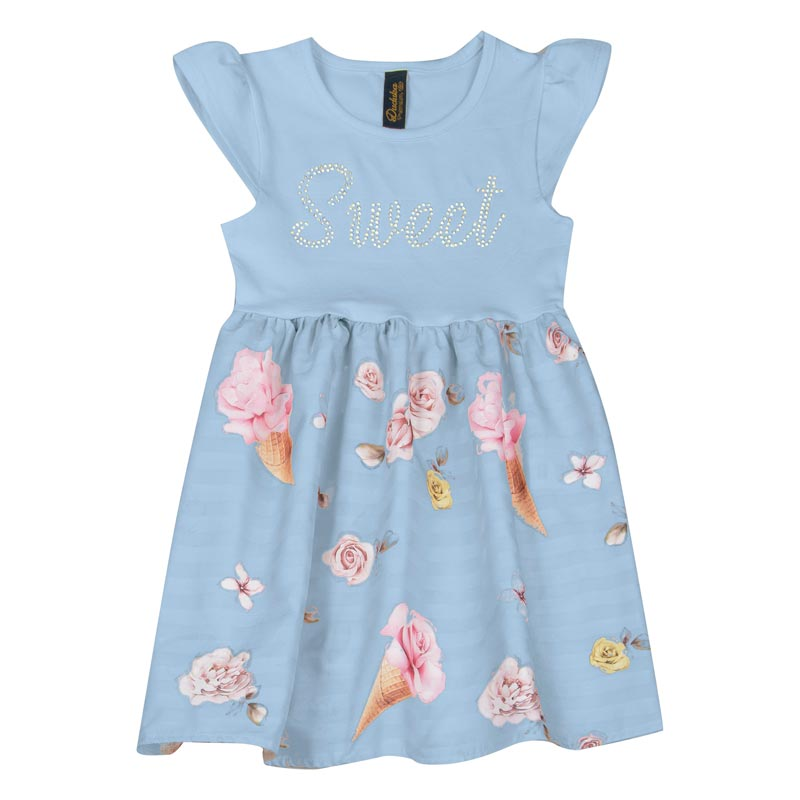Vestido Duduka Infantil Menina Sorvete Azul