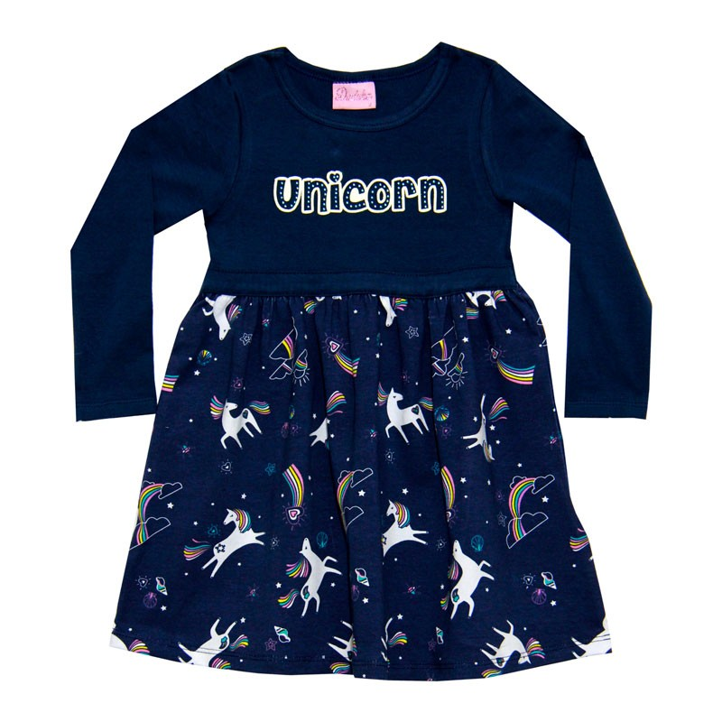 Vestido Duduka Infantil Menina Unicórnio Azul