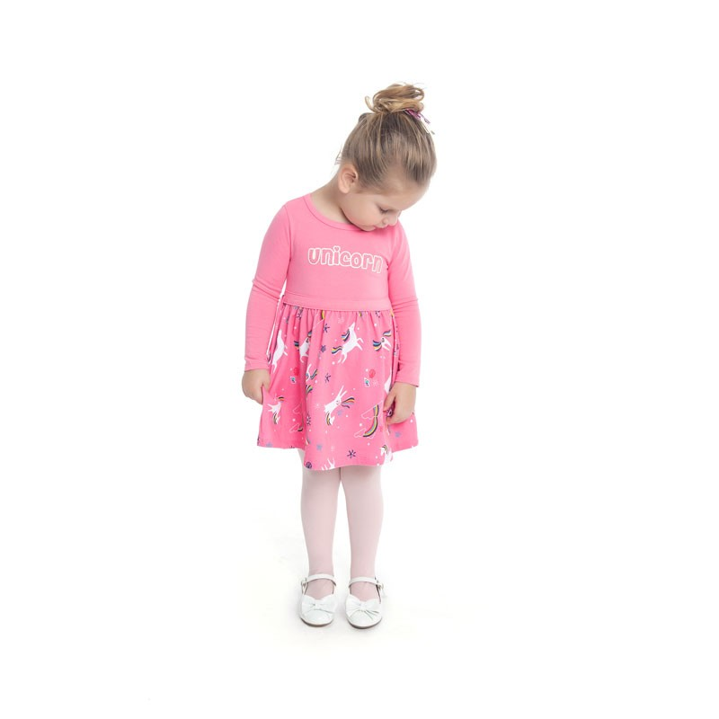Vestido Duduka Infantil Menina Unicórnio Rosa