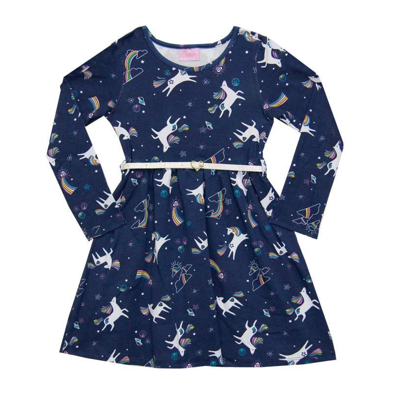 Vestido Duduka Infantil Menina Unicórnios Azul