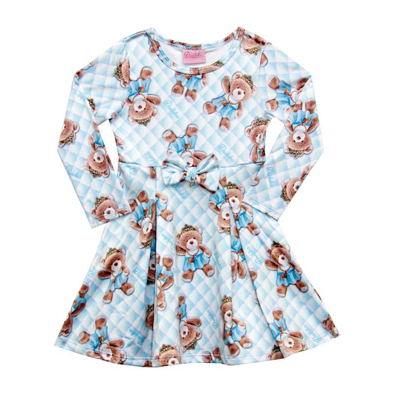Vestido Duduka Infantil Menina Ursinho Azul