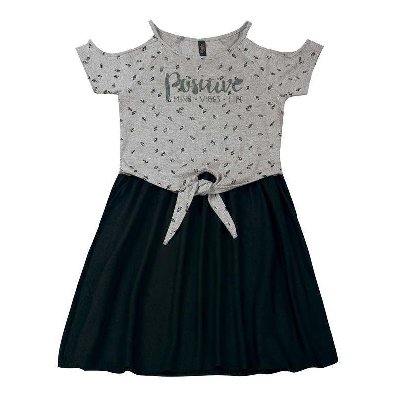 Vestido Duduka Juvenil Menina Estampado Cinza