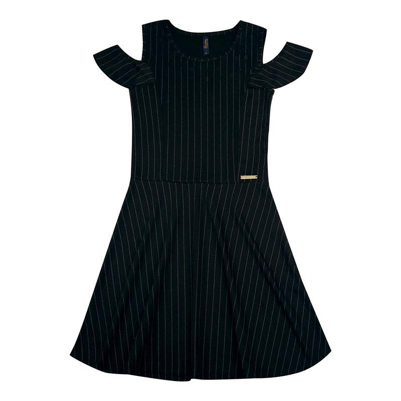 Vestido Duduka Juvenil Menina Listras Preto