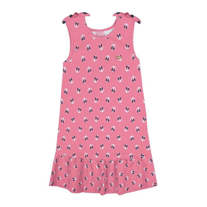 Vestido Infantil Menina Âncora Rosa