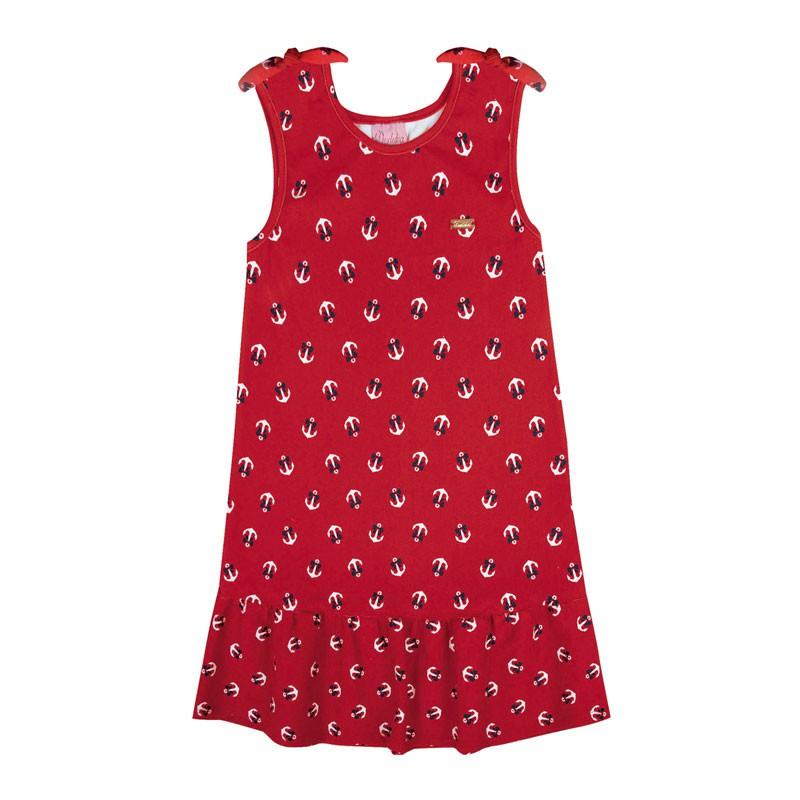 Vestido Infantil Menina Âncora Vermelho