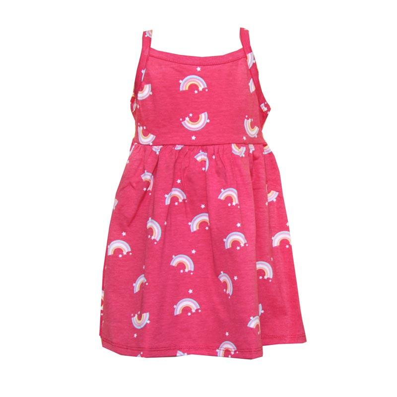 Vestido Infantil Menina Arco-Íris Rosa