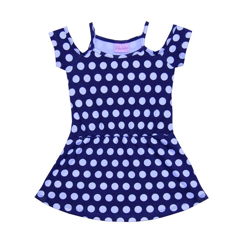 Vestido Infantil Menina Bolinha Azul