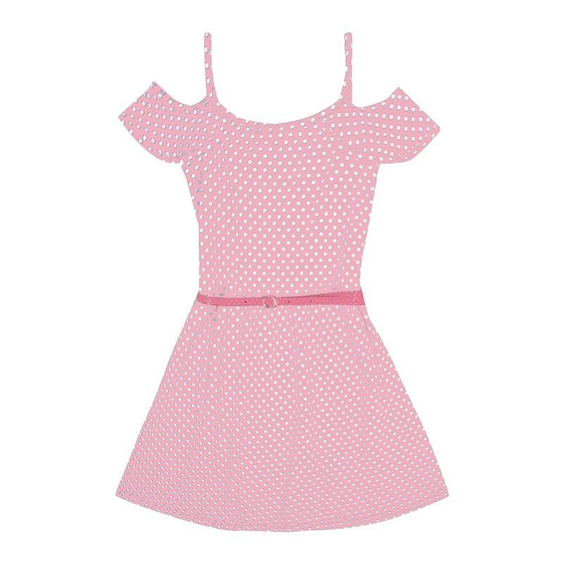 Vestido Infantil Menina Bolinha Rosa