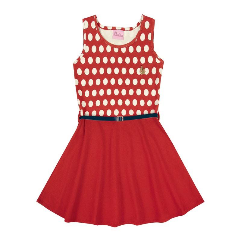 Vestido Infantil Menina Bolinha Vermelho