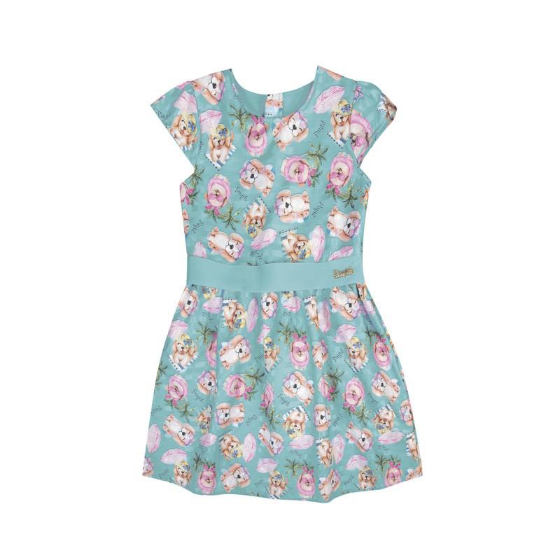 Vestido Paytê  Infantil Menina Cachorrinho Azul