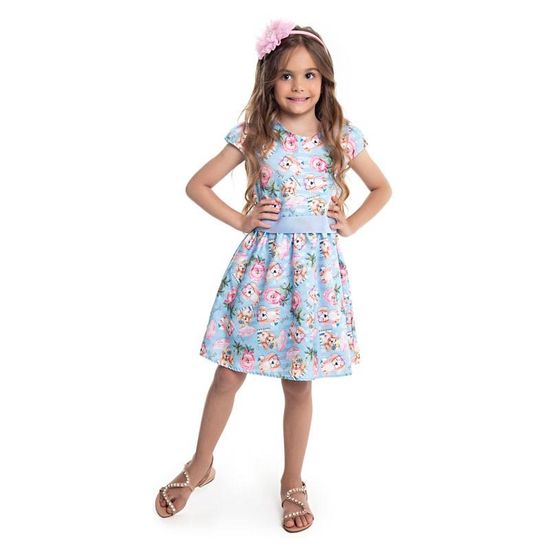 Vestido Infantil Menina Cachorrinho Azul