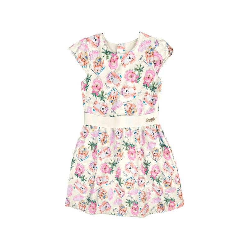 Vestido Paytê Infantil Menina Cachorrinho Bege