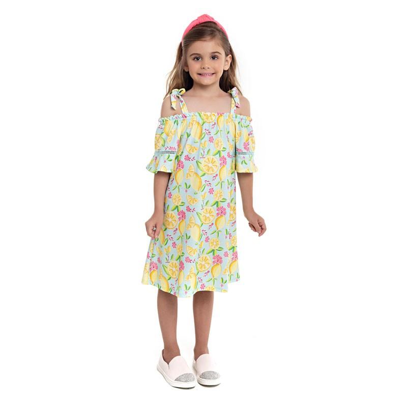 Vestido Paytê Infantil Menina Ciganinha Azul