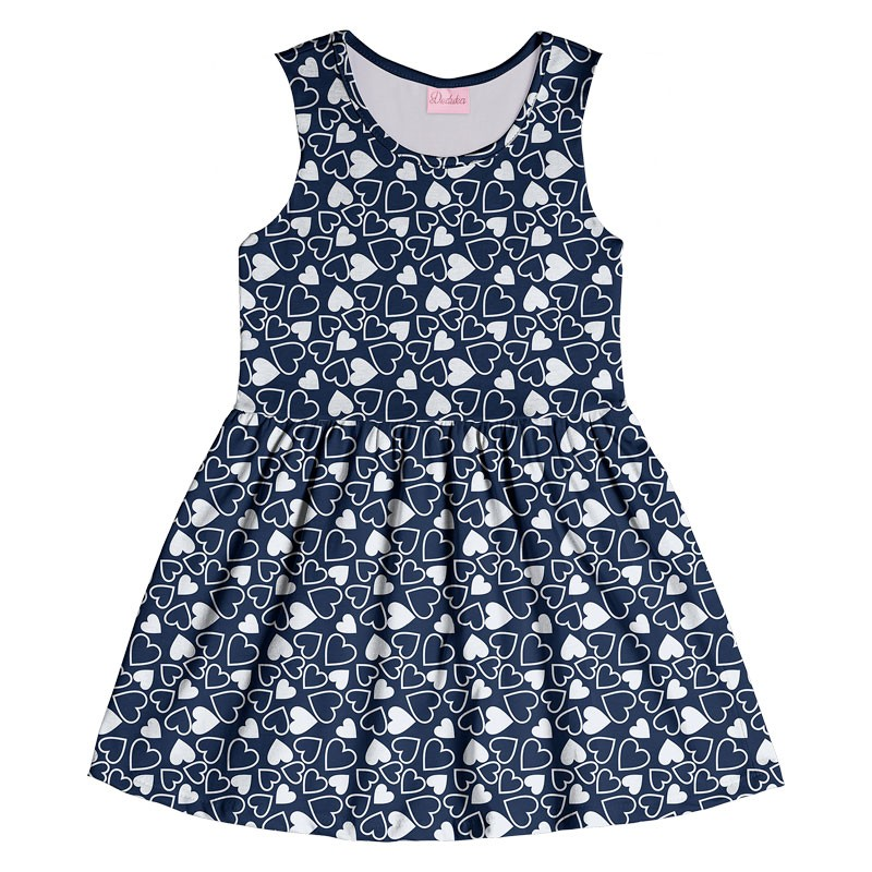 Vestido Infantil Menina Coração Azul