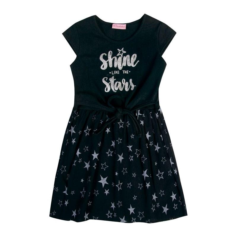 Vestido Infantil Menina Estrelas Preto
