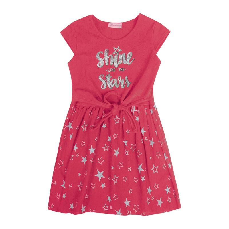Vestido Infantil Menina Estrelas Rosa