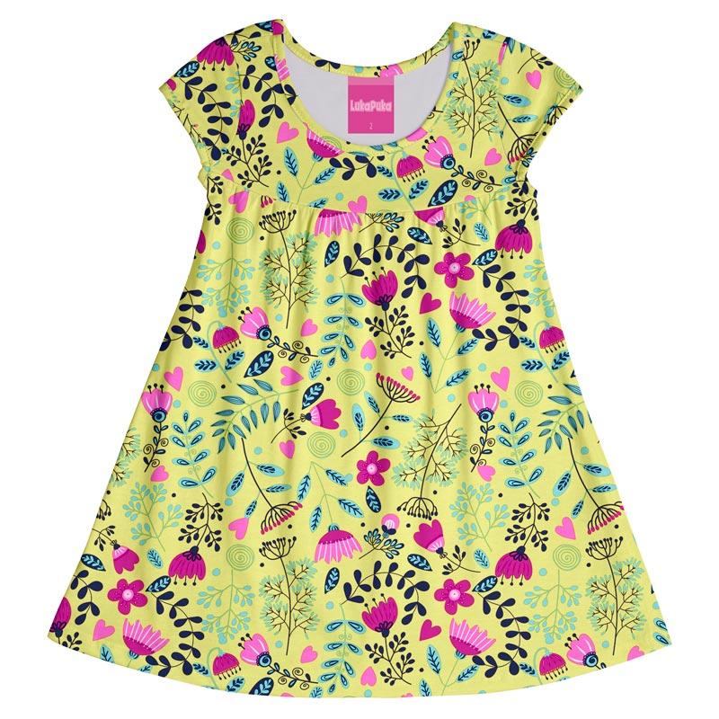 Vestido Infantil Menina Flores Amarelo