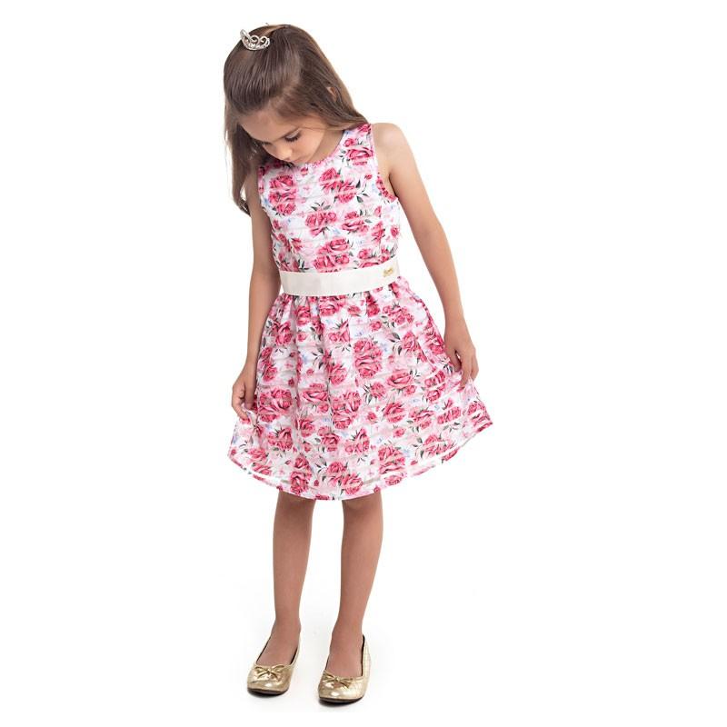 Vestido Paytê Infantil Menina Flores Bege