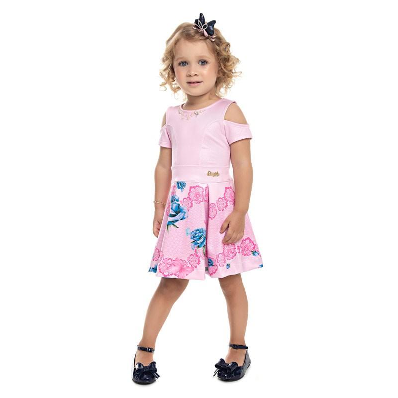 Vestido Paytê Infantil Menina Flores Rosa