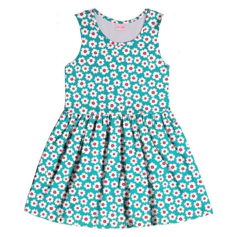 Vestido Infantil Menina Flores Verde