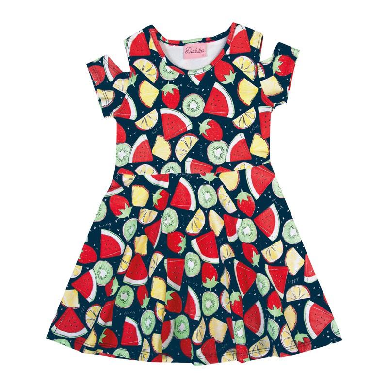 Vestido Infantil Menina Frutas Azul