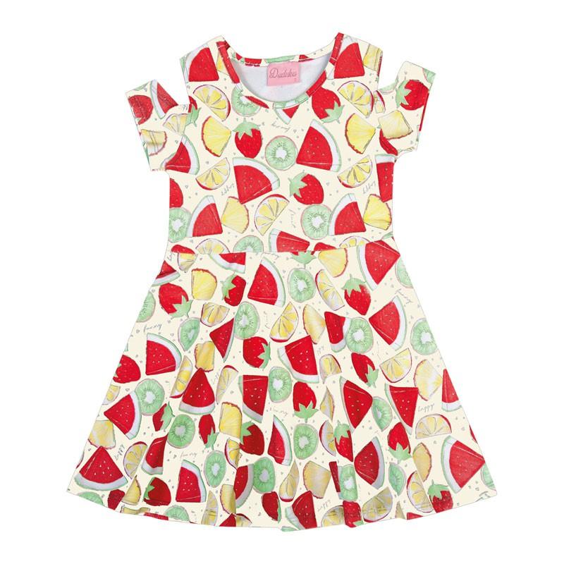 Vestido Infantil Menina Frutas Bege