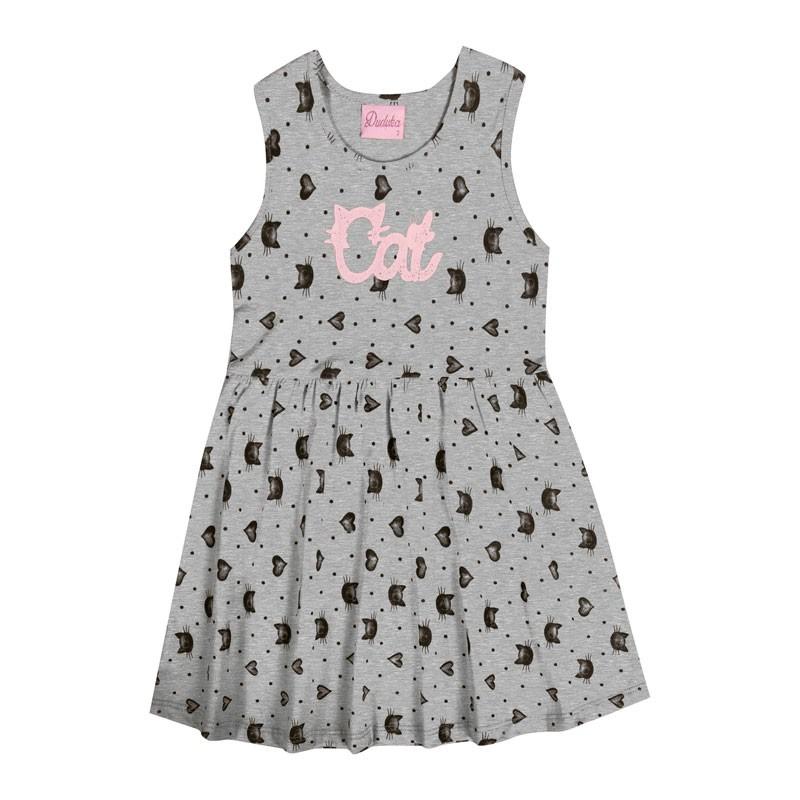 Vestido Infantil Menina Gatinho Cinza