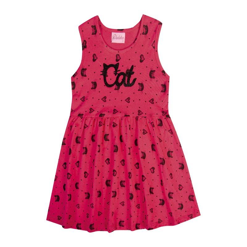 Vestido Infantil Menina Gatinho Rosa