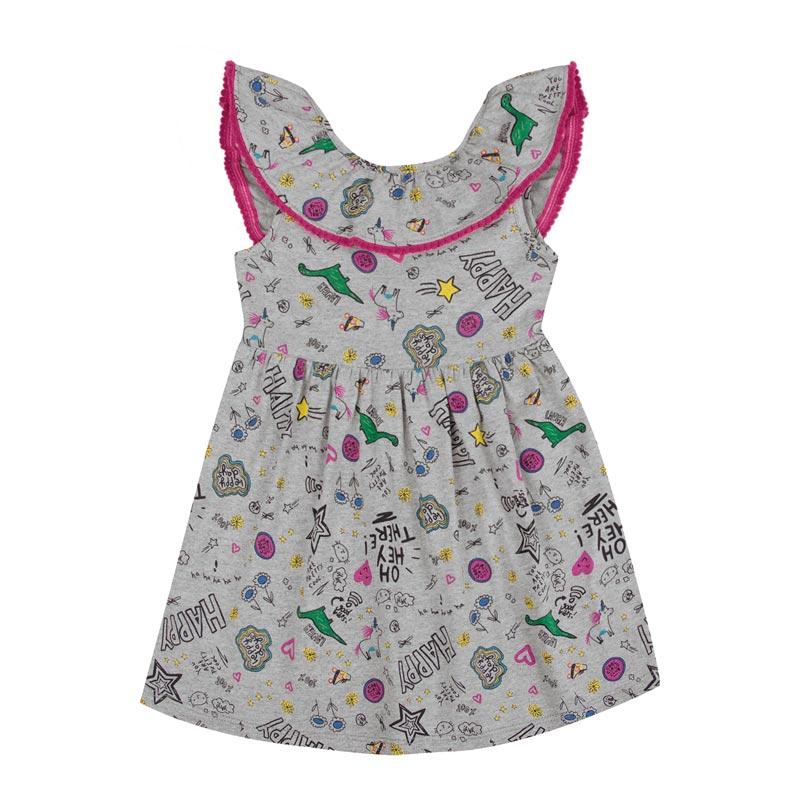 Vestido Infantil Menina Happy Cinza
