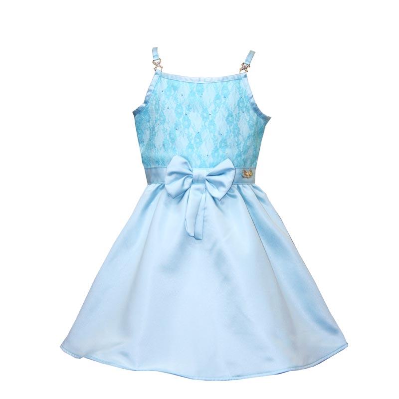 Vestido Infantil Menina Laço Azul