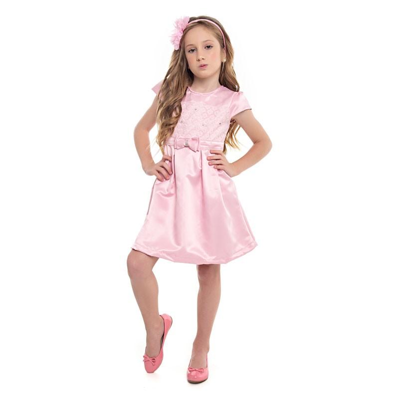 Vestido Paytê Infantil Menina Laço Rosa
