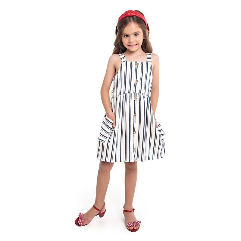 Vestido Paytê Infantil Menina Listrado Azul