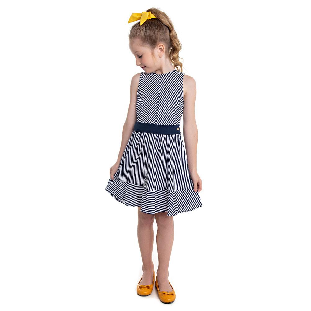 Vestido Infantil Menina Listrado Azul