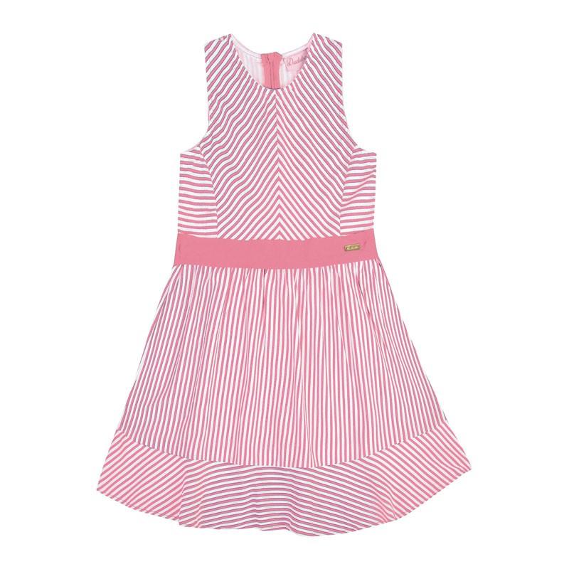 Vestido Infantil Menina Listrado Rosa
